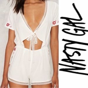Nasty Gal Lioness White Romper Embroidered Flowers